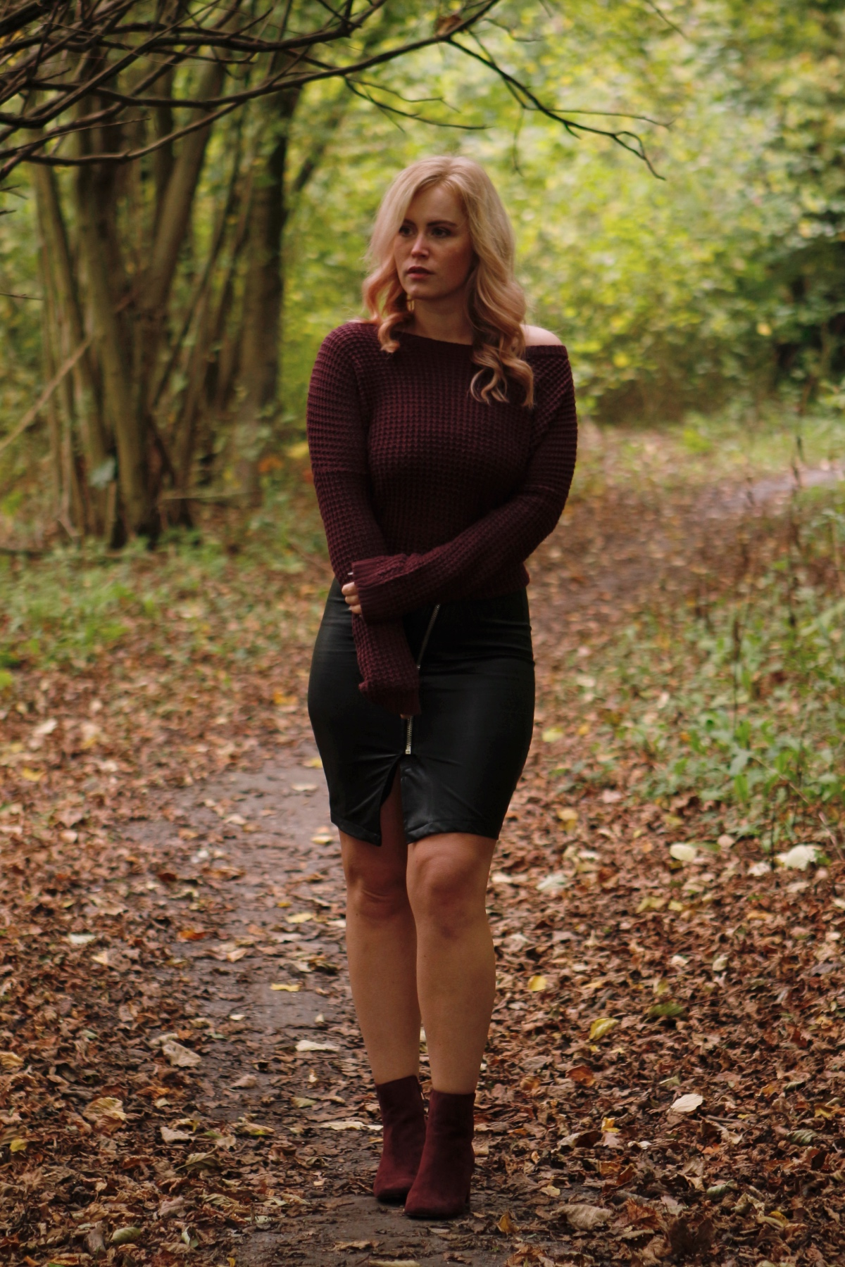 Leather skirt and lots of burgundy